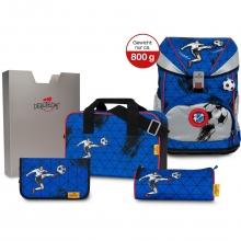 Ранец ортопедический DerDieDas SuperFlash Silver Soccer - Блестящий гол 8405145 с наполнением 5 предметов.